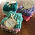 Cotton knitted wash cloths, set of three