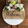 Welcome Front door round sign personalised