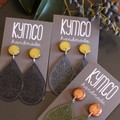 Earrings. Resin metallic stud (various colours) + mustard teardrop dangles