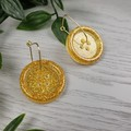 Gold Sparkle Glitter - Button Hoop Dangle earrings