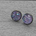 MAUVE, STUD FAUX DRUZY EARRINGS, BRONZE AND PURPLE EARRINGS, WEDDING, BRIDESMAID