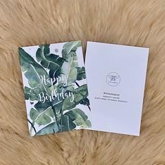 Watercolour Green Tropical Palm Leaf Birthday Card