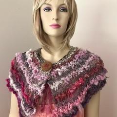 Pink mini wrap, chunky Hand Spun, Hand Knit, Scarf, collar, merino, silk
