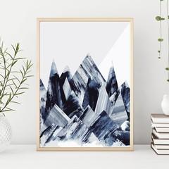 Grey & Blue Water Colour Mountain Peaks Illustration Downloadable Artwork A3