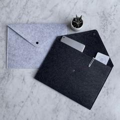 Silver + Ash Dark Grey A4 + A3 Felt Document File Folder