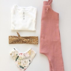 """Dusty Pink Muslin""""Knot Overall"""" size 1"""