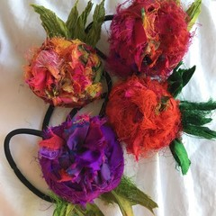 Ponytail elastics, hair ties, flower hair accessories, silk flowers