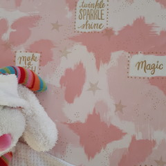 Fitted Cot Sheet - Cotton - Pink Camouflage Gold Sparkle Magic