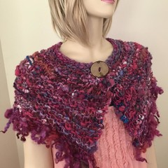 mini wrap, Hand Spun, Hand Knit, Scarf, collar, mixed wool and locks