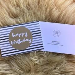 Watercolour Grey Stripe Gold Spot Happy Birthday Card