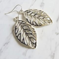 Simple Modern boho style single big leaf metal charm drop earrings , Silver