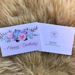 Happy Birthday Pastel Soft Flower Succulents Banner Card