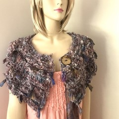 mini wrap, Hand Spun, Hand Knit, Scarf, collar, Australian kid mohair