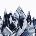 Grey & Blue Water Colour Mountain Peaks Illustration Downloadable Artwork A3