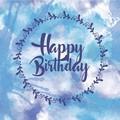 Blue Watercolour Happy Birthday Card