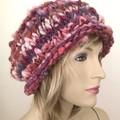 handspun handknit beanie, woman winter hat, merino wool beanie
