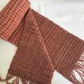 Handwoven Wool Blend Scarf,  Hand Dyed Merino / Nylon, Terracotta / Copper