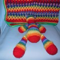 Rainbow Baby Blanket &  Rainbow Teddy Bear