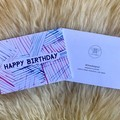 Geometric Happy Birthday W Line Sketch Blue Pink Purple Card