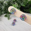 Rainbow Neon Glitter Resin Button Stud Earrings