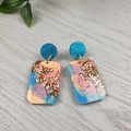 Watercolour Sky - Glittering - Drop Resin - Stud Dangle earrings