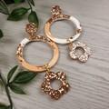 Daisy Hoop Rose Gold Glitter Resin - MEGA Dangle earrings