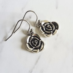 Small Modern minimal style Rose silver colour metal flower charm drop earrings
