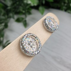 Silver Holographic Glitter Resin Button Stud Earrings