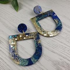 Night Sky U Drop Glitter Resin - Stud Dangle earrings