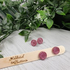 Pink Glitter Resin Button Stud Earrings