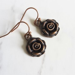 Dainty Antique red copper Gothic style Rose metal flower charm drop earrings