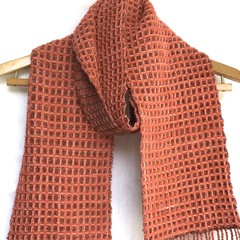 Handwoven Wool Blend Scarf,  Hand Dyed Merino / Nylon, Terracotta / Copper