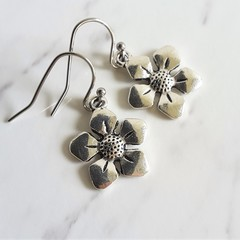 Modern Minimal style Bellflower silver colour metal flower charm drop earrings
