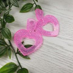 Icey Pink Frost Pink Heart Glitter Resin - Stud Dangle earrings
