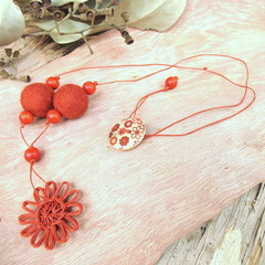 Natural Fibre Flower Pendant Felt Ball Beaded Necklace Jewellery Umber Orange