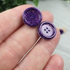 Purple Glitter Resin Button Stud Earrings