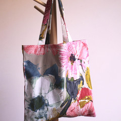 Pink and gold fabric tote bag