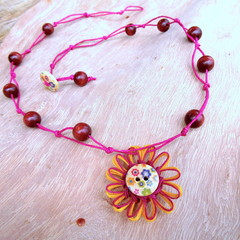 Natural Fibre Flower Beaded Necklace Pendant Knotted Jewellery