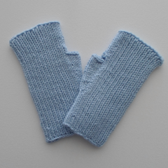 Pale Blue Wool Texting Mitts / Fingerless Gloves in Adult Size