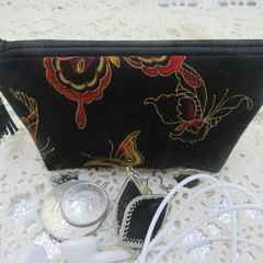 Credit Card Pouch Coin Purse - Women's Girls Black Butterfly