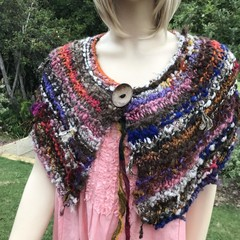mini wrap, Hand Spun, Hand Knit, Scarf, collar, merino, alpaca, silk, wool