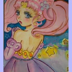 Original A5 watercolour magical sailor girls
