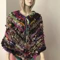 L to XL Aussie Wool Poncho, Handspun, Handknit, chunky, multicoloured