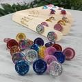 Red Glitter Resin Button Stud Earrings