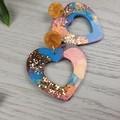 Watercolour  Love Heart Glitter Resin - Stud Dangle earrings