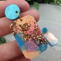 Watercolour Sky - Glittering - Drop Resin - Stud Dangle earrings