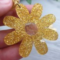 Daisy Chain - Gold Glitter Resin - Stud Dangle earrings
