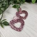 Musk Pink Heart Glitter Resin - Stud Dangle earrings