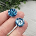 Turquoise Glitter Resin Button Stud Earrings