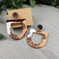Peaches and Cream U Drop Glitter Resin - Stud Dangle earrings